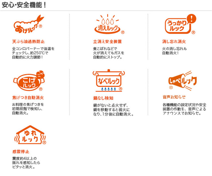 210-R610大阪ガスビルトインガスコンロクラスSプレミアR-安心安全機能